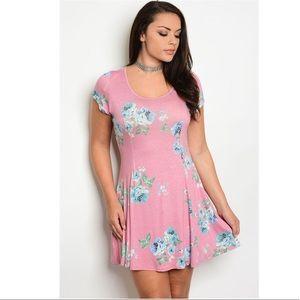 Plus Size Blush Floral Dress